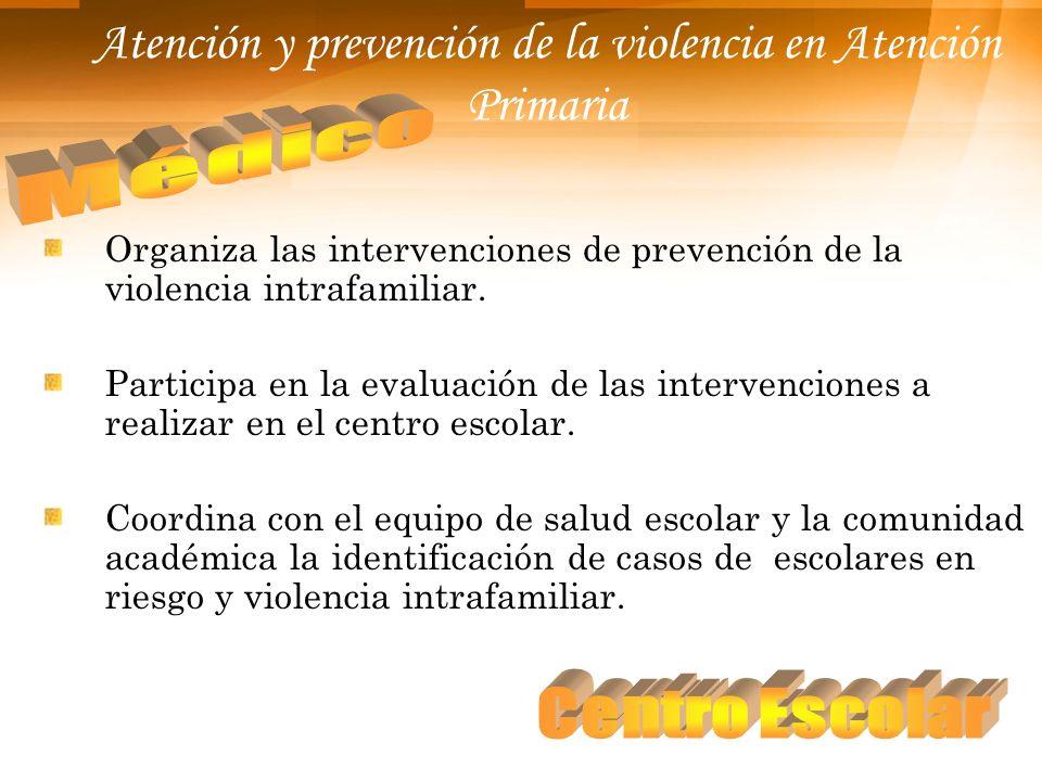 Atención y prevención de la violencia en Atención Primaria Organiza las intervenciones de prevención de la violencia intrafamiliar. Participa en la ev