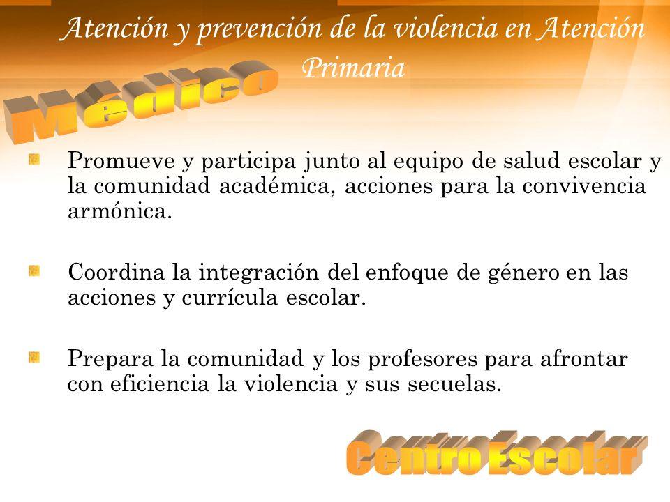 Atención y prevención de la violencia en Atención Primaria Promueve y participa junto al equipo de salud escolar y la comunidad académica, acciones pa