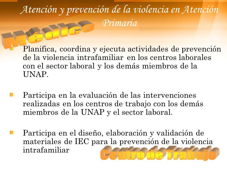 Atención y prevención de la violencia en Atención Primaria Planifica, coordina y ejecuta actividades de prevención de la violencia intrafamiliar en lo