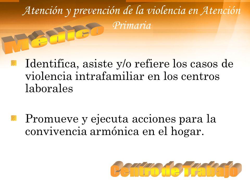 Atención y prevención de la violencia en Atención Primaria Identifica, asiste y/o refiere los casos de violencia intrafamiliar en los centros laborale