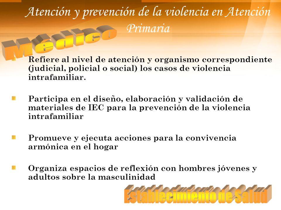 Atención y prevención de la violencia en Atención Primaria Refiere al nivel de atención y organismo correspondiente (judicial, policial o social) los