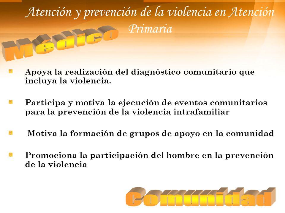 Atención y prevención de la violencia en Atención Primaria Apoya la realización del diagnóstico comunitario que incluya la violencia. Participa y moti