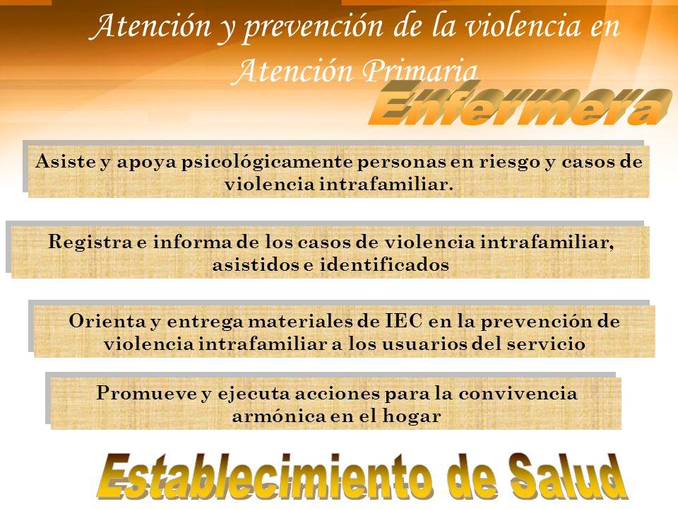 Atención y prevención de la violencia en Atención Primaria Asiste y apoya psicológicamente personas en riesgo y casos de violencia intrafamiliar. Orie