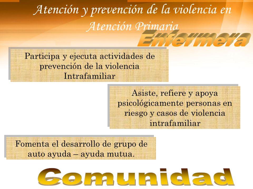 Atención y prevención de la violencia en Atención Primaria Participa y ejecuta actividades de prevención de la violencia Intrafamiliar Fomenta el desa