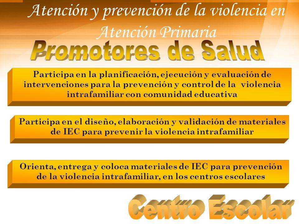 Atención y prevención de la violencia en Atención Primaria Participa en la planificación, ejecución y evaluación de intervenciones para la prevención