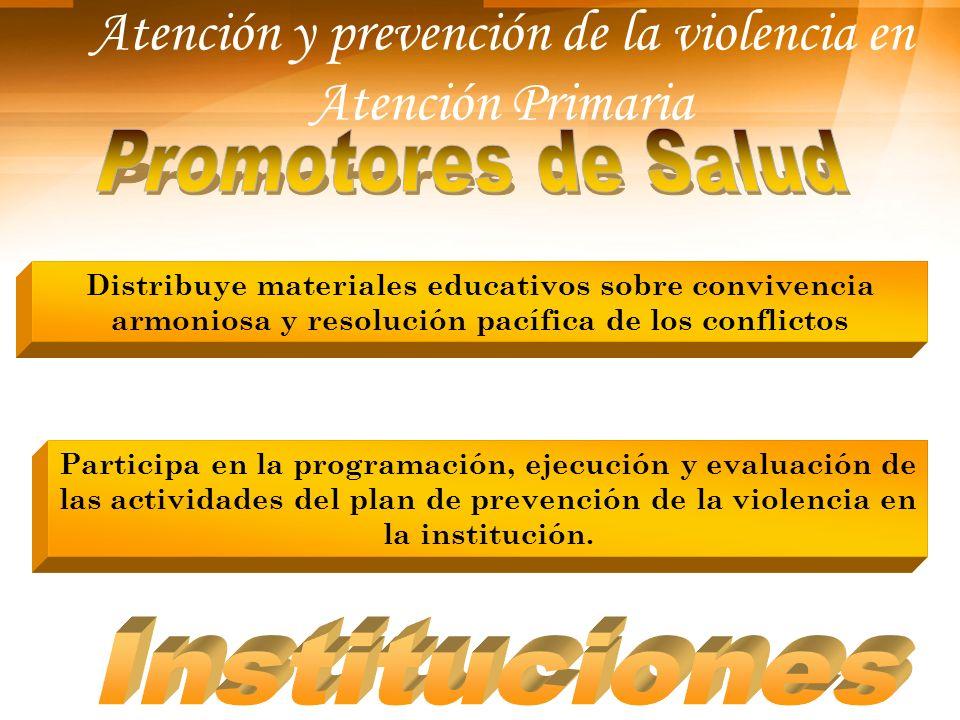 Atención y prevención de la violencia en Atención Primaria Distribuye materiales educativos sobre convivencia armoniosa y resolución pacífica de los c
