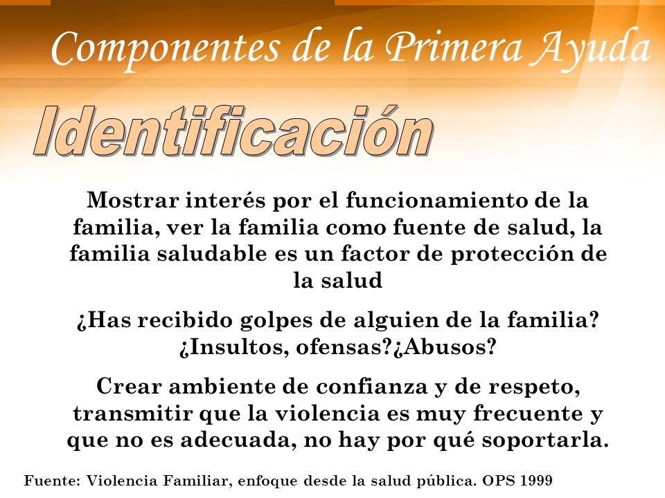 Componentes de la Primera Ayuda Mostrar interés por el funcionamiento de la familia, ver la familia como fuente de salud, la familia saludable es un f
