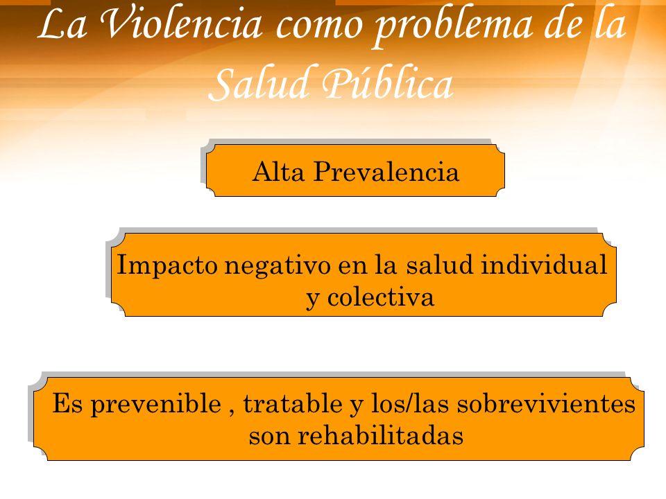 La Violencia como problema de la Salud Pública Impacto negativo en la salud individual y colectiva Es prevenible, tratable y los/las sobrevivientes so
