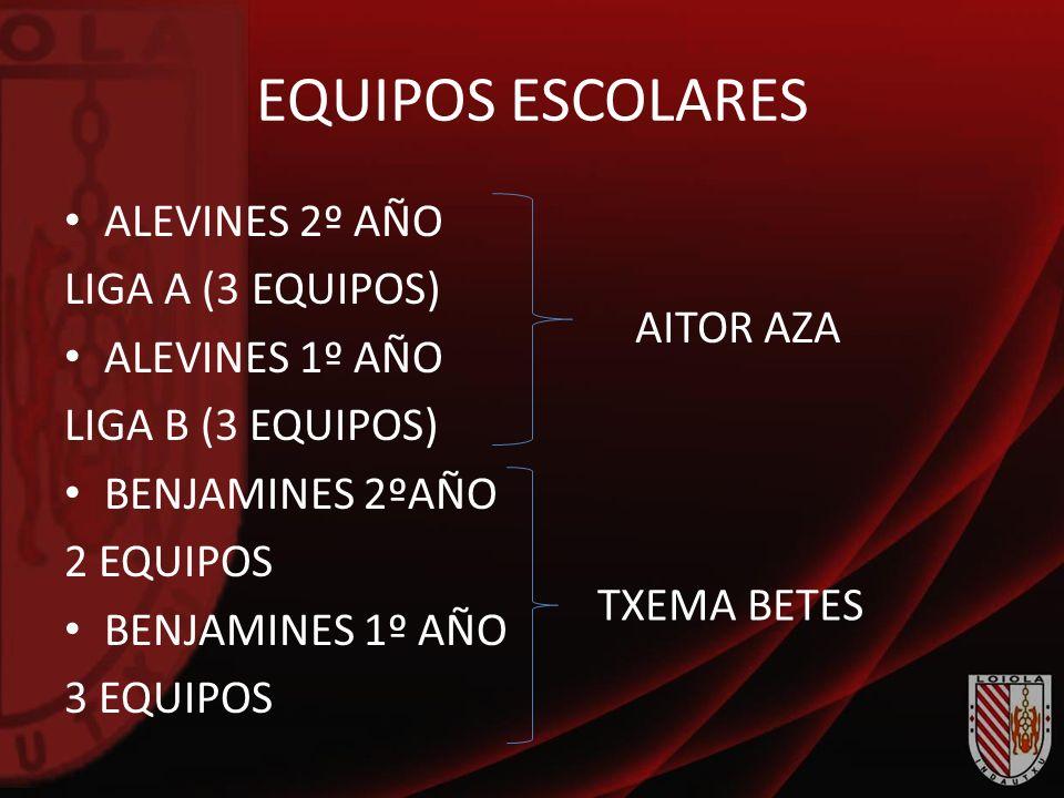 EQUIPOS ESCOLARES ALEVINES 2º AÑO LIGA A (3 EQUIPOS) ALEVINES 1º AÑO LIGA B (3 EQUIPOS) BENJAMINES 2ºAÑO 2 EQUIPOS BENJAMINES 1º AÑO 3 EQUIPOS TXEMA B