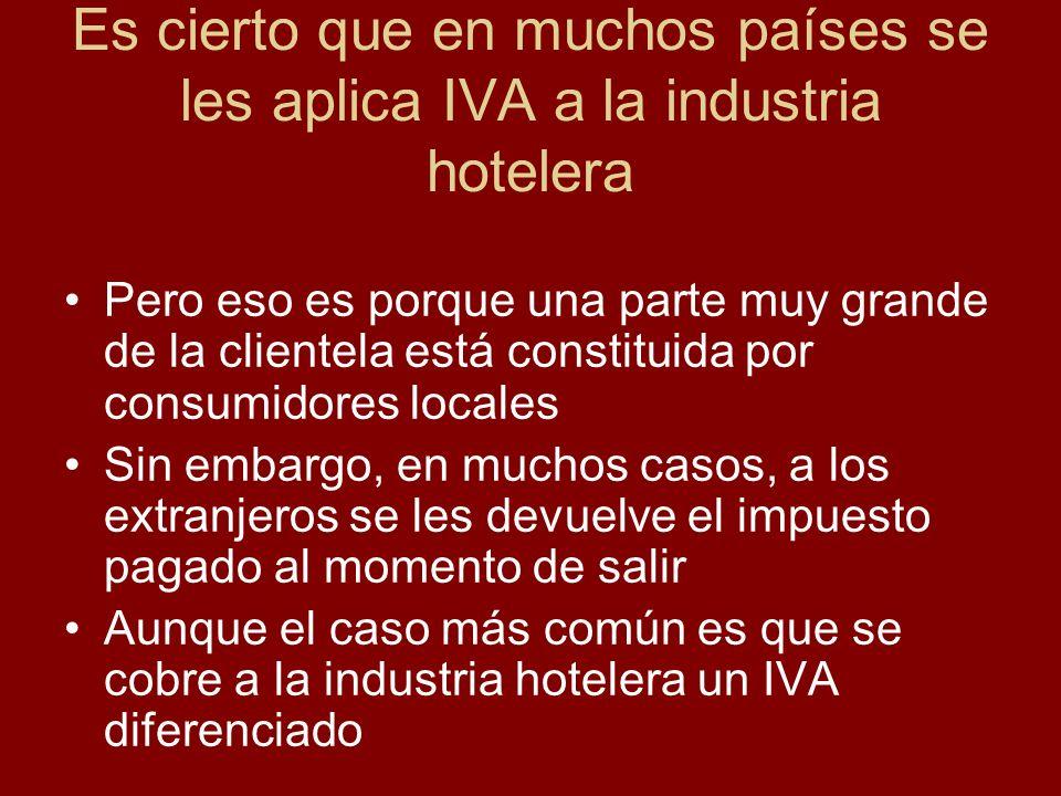 Es cierto que en muchos países se les aplica IVA a la industria hotelera Pero eso es porque una parte muy grande de la clientela está constituida por