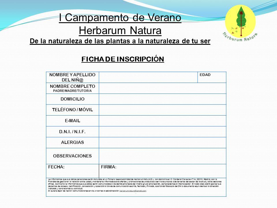 NOMBRE Y APELLIDO DEL NIÑ@ EDAD NOMBRE COMPLETO PADRE/MADRE/TUTOR/A DOMICILIO TELÉFONO / MÓVIL E-MAIL D.N.I. / N.I.F. ALERGIAS OBSERVACIONES FECHA: FI