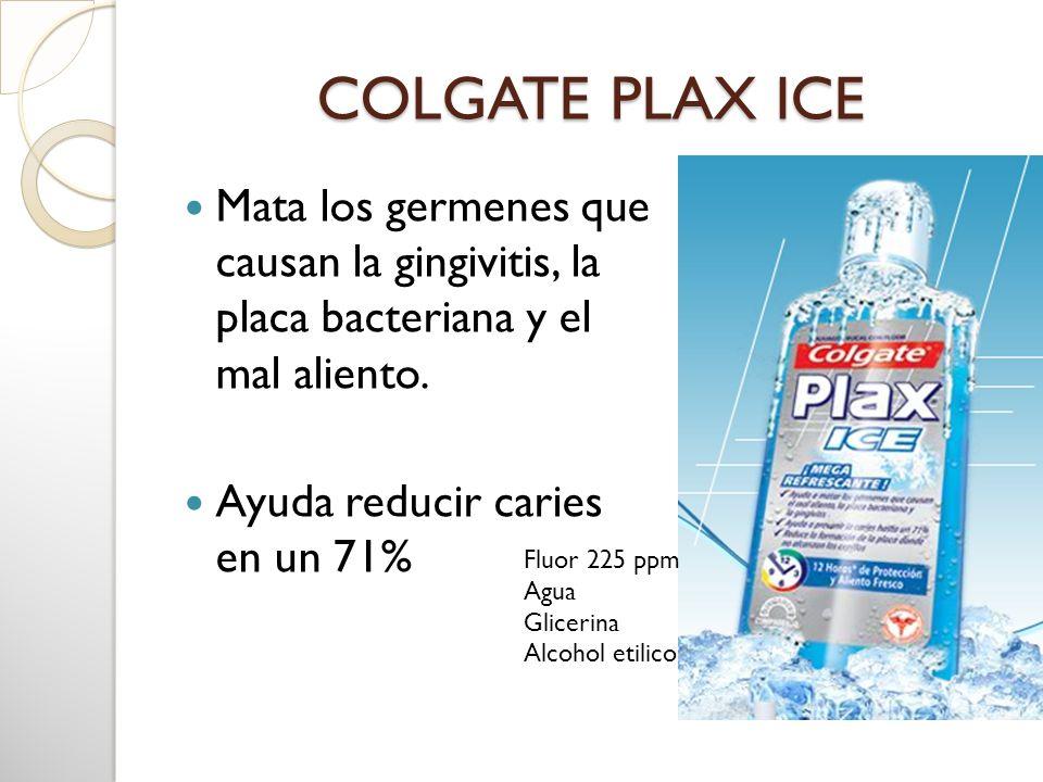 COLGATE PLAX ICE Mata los germenes que causan la gingivitis, la placa bacteriana y el mal aliento. Ayuda reducir caries en un 71% Fluor 225 ppm Agua G