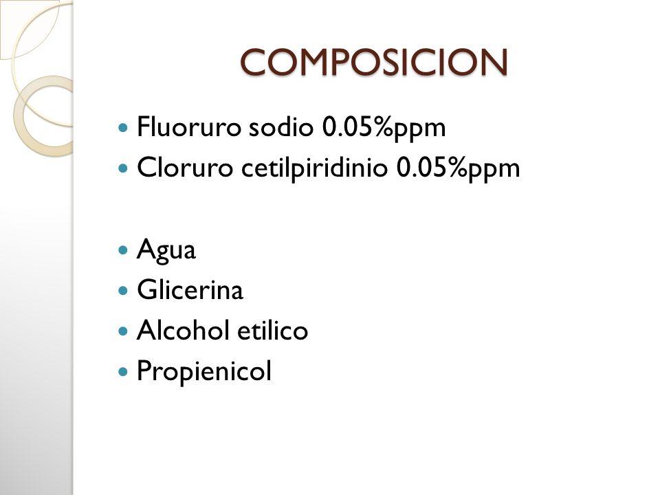 COMPOSICION Fluoruro sodio 0.05%ppm Cloruro cetilpiridinio 0.05%ppm Agua Glicerina Alcohol etilico Propienicol