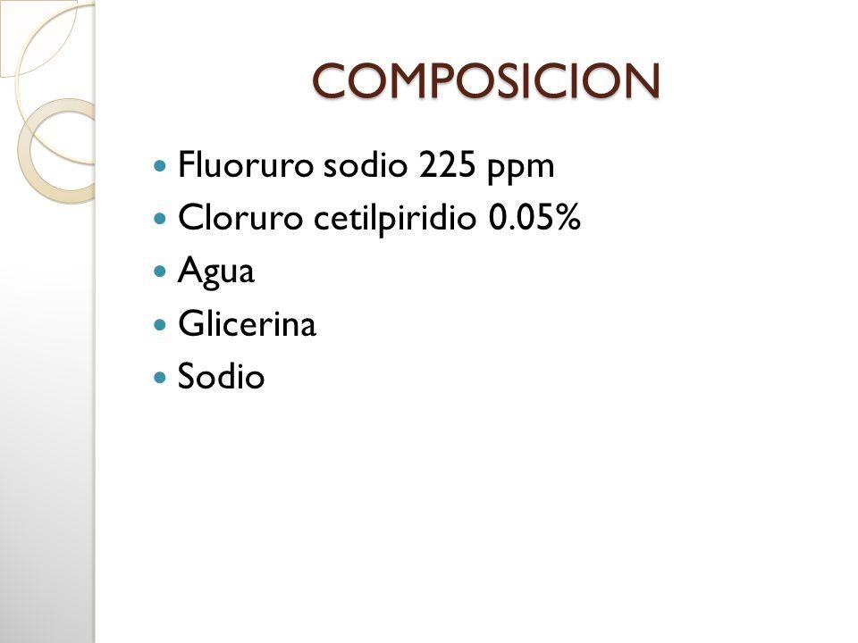 COMPOSICION Fluoruro sodio 225 ppm Cloruro cetilpiridio 0.05% Agua Glicerina Sodio