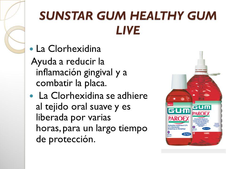 SUNSTAR GUM HEALTHY GUM LIVE La Clorhexidina Ayuda a reducir la inflamación gingival y a combatir la placa. La Clorhexidina se adhiere al tejido oral