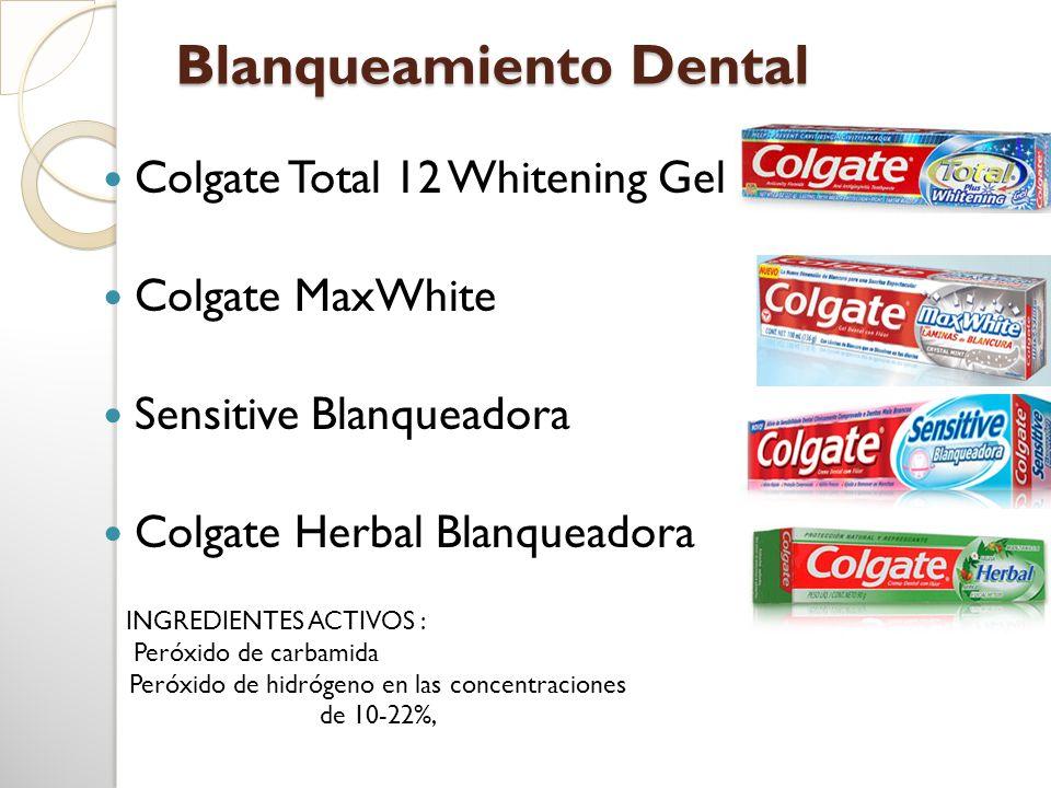 Blanqueamiento Dental Colgate Total 12 Whitening Gel Colgate MaxWhite Sensitive Blanqueadora Colgate Herbal Blanqueadora INGREDIENTES ACTIVOS : Peróxi