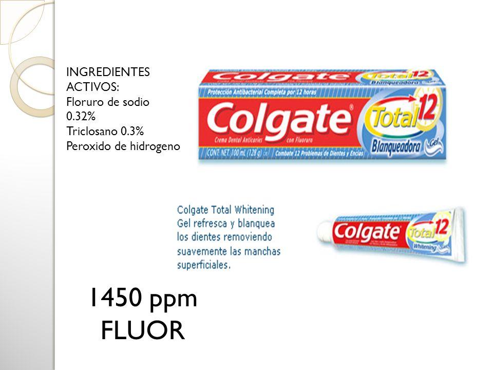 1450 ppm FLUOR INGREDIENTES ACTIVOS: Floruro de sodio 0.32% Triclosano 0.3% Peroxido de hidrogeno