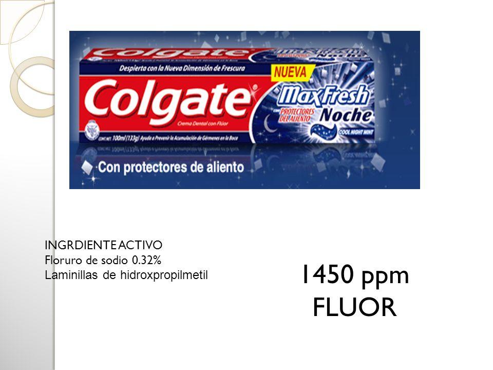 INGRDIENTE ACTIVO Floruro de sodio 0.32% Laminillas de hidroxpropilmeti l 1450 ppm FLUOR