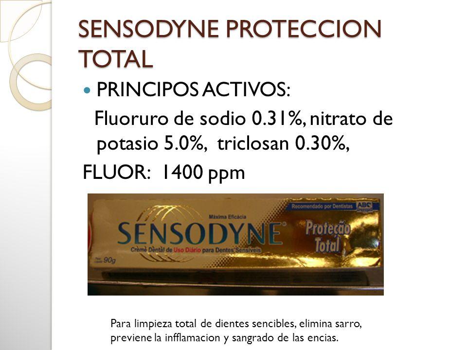 SENSODYNE PROTECCION TOTAL PRINCIPOS ACTIVOS: Fluoruro de sodio 0.31%, nitrato de potasio 5.0%, triclosan 0.30%, FLUOR: 1400 ppm Para limpieza total d