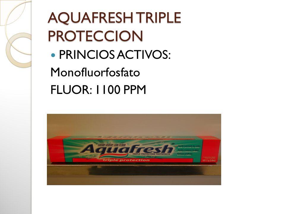 AQUAFRESH TRIPLE PROTECCION PRINCIOS ACTIVOS: Monofluorfosfato FLUOR: 1100 PPM