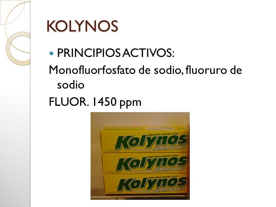 KOLYNOS PRINCIPIOS ACTIVOS: Monofluorfosfato de sodio, fluoruro de sodio FLUOR. 1450 ppm