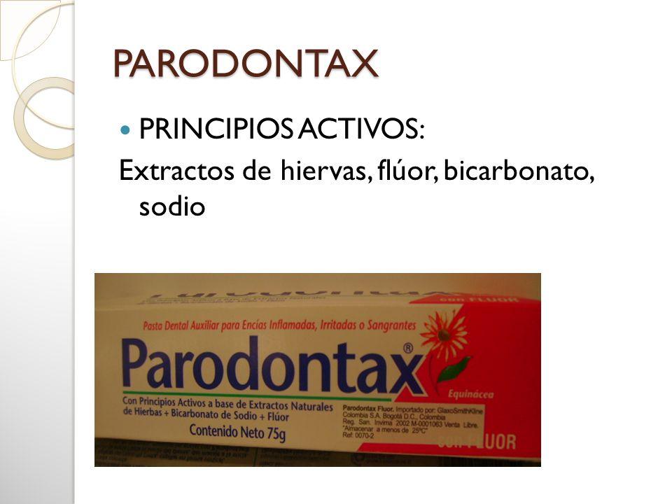 PARODONTAX PRINCIPIOS ACTIVOS: Extractos de hiervas, flúor, bicarbonato, sodio