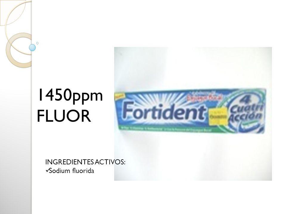 INGREDIENTES ACTIVOS: Sodium fluorida 1450ppm FLUOR