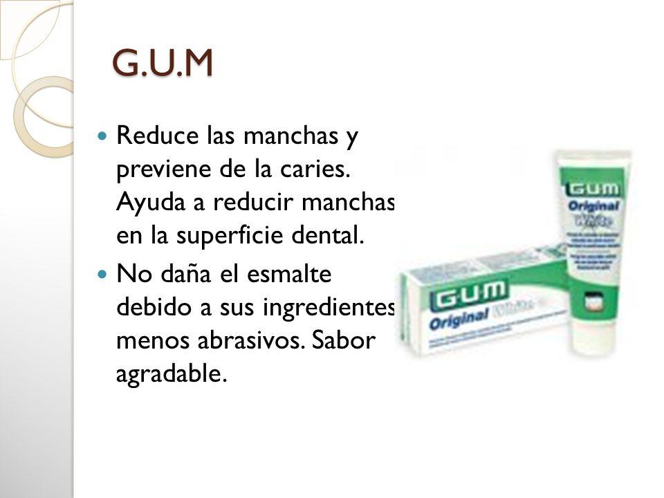 G.U.M Reduce las manchas y previene de la caries. Ayuda a reducir manchas en la superficie dental. No daña el esmalte debido a sus ingredientes menos