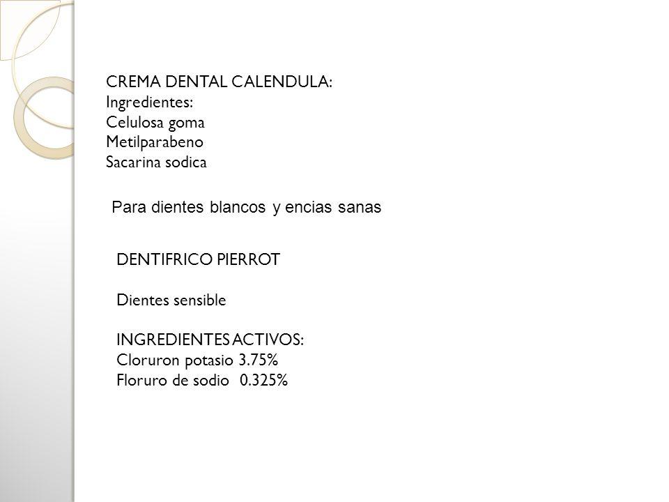 CREMA DENTAL CALENDULA: Ingredientes: Celulosa goma Metilparabeno Sacarina sodica DENTIFRICO PIERROT Dientes sensible INGREDIENTES ACTIVOS: Cloruron p