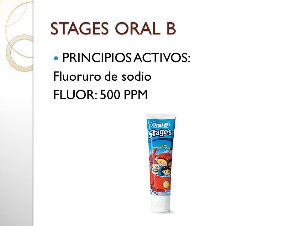 STAGES ORAL B PRINCIPIOS ACTIVOS: Fluoruro de sodio FLUOR: 500 PPM