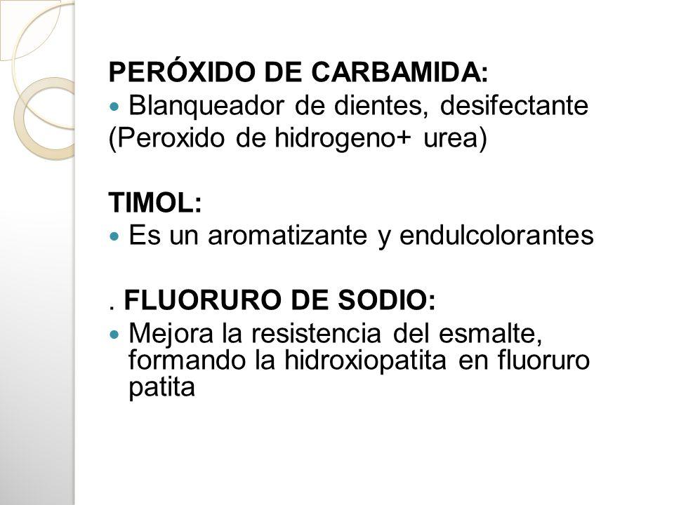 PERÓXIDO DE CARBAMIDA: Blanqueador de dientes, desifectante (Peroxido de hidrogeno+ urea) TIMOL: Es un aromatizante y endulcolorantes. FLUORURO DE SOD