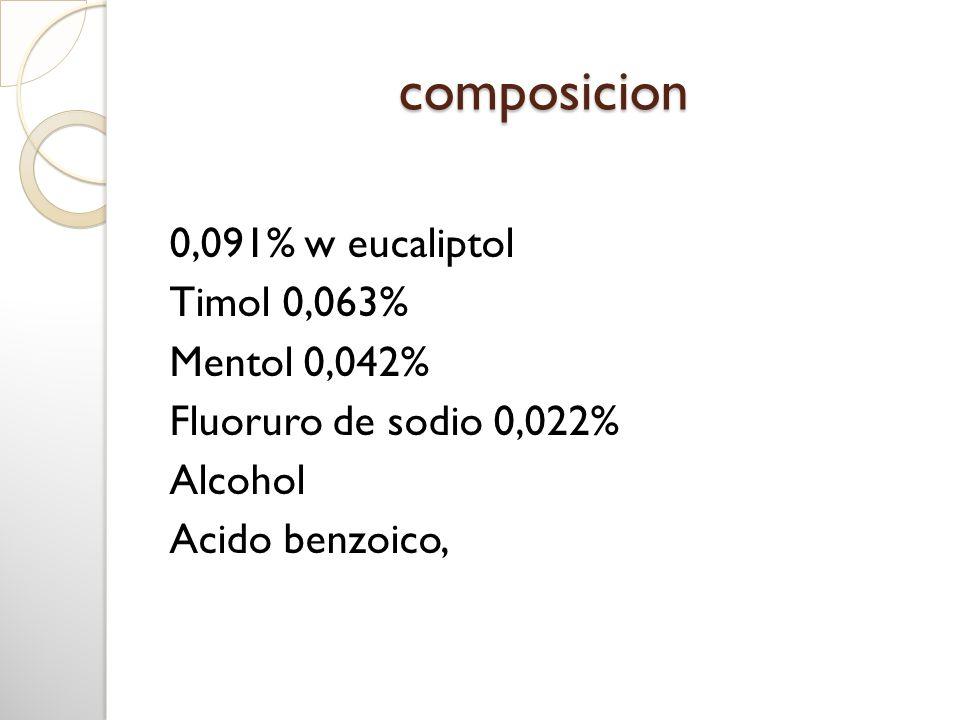 composicion 0,091% w eucaliptol Timol 0,063% Mentol 0,042% Fluoruro de sodio 0,022% Alcohol Acido benzoico,