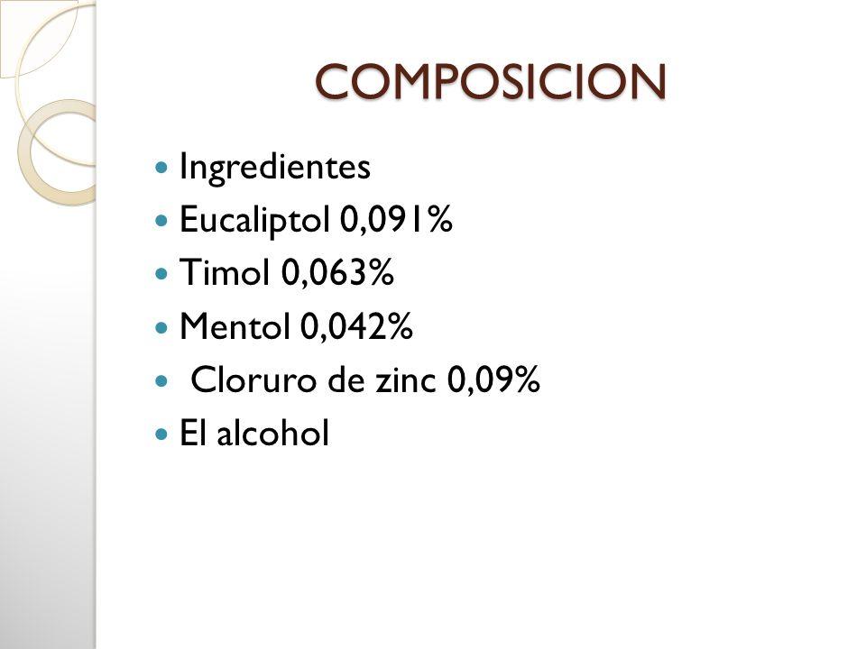 COMPOSICION Ingredientes Eucaliptol 0,091% Timol 0,063% Mentol 0,042% Cloruro de zinc 0,09% El alcohol