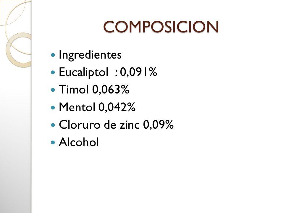 COMPOSICION Ingredientes Eucaliptol : 0,091% Timol 0,063% Mentol 0,042% Cloruro de zinc 0,09% Alcohol