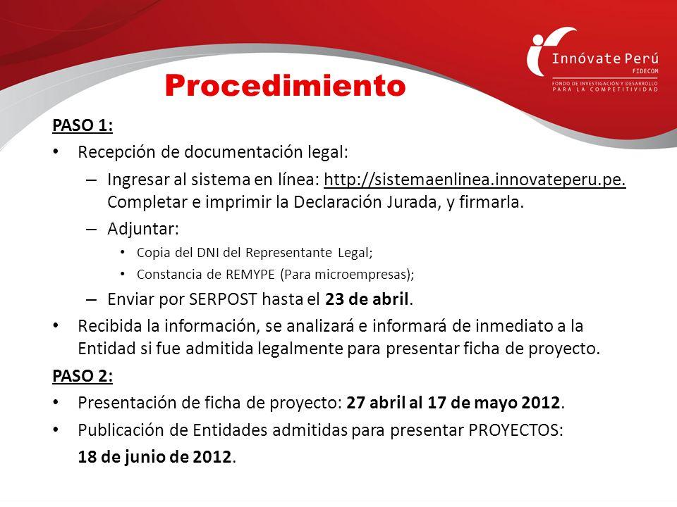 PASO 1: Recepción de documentación legal: – Ingresar al sistema en línea: http://sistemaenlinea.innovateperu.pe. Completar e imprimir la Declaración J