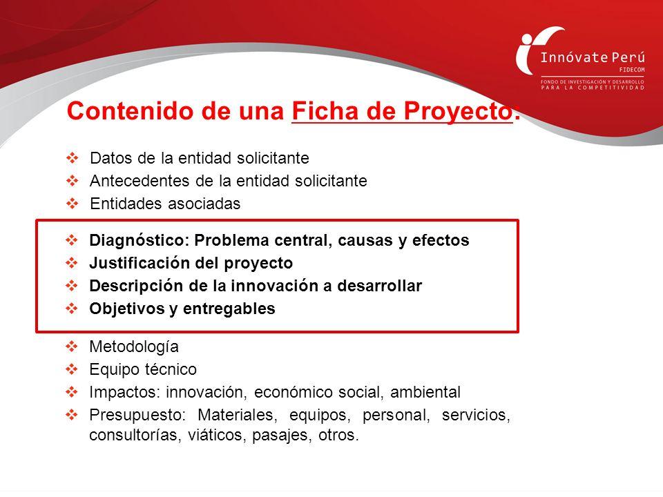 Contenido de una Ficha de Proyecto: Diagnóstico: Problema central, causas y efectos Justificación del proyecto Descripción de la innovación a desarrol