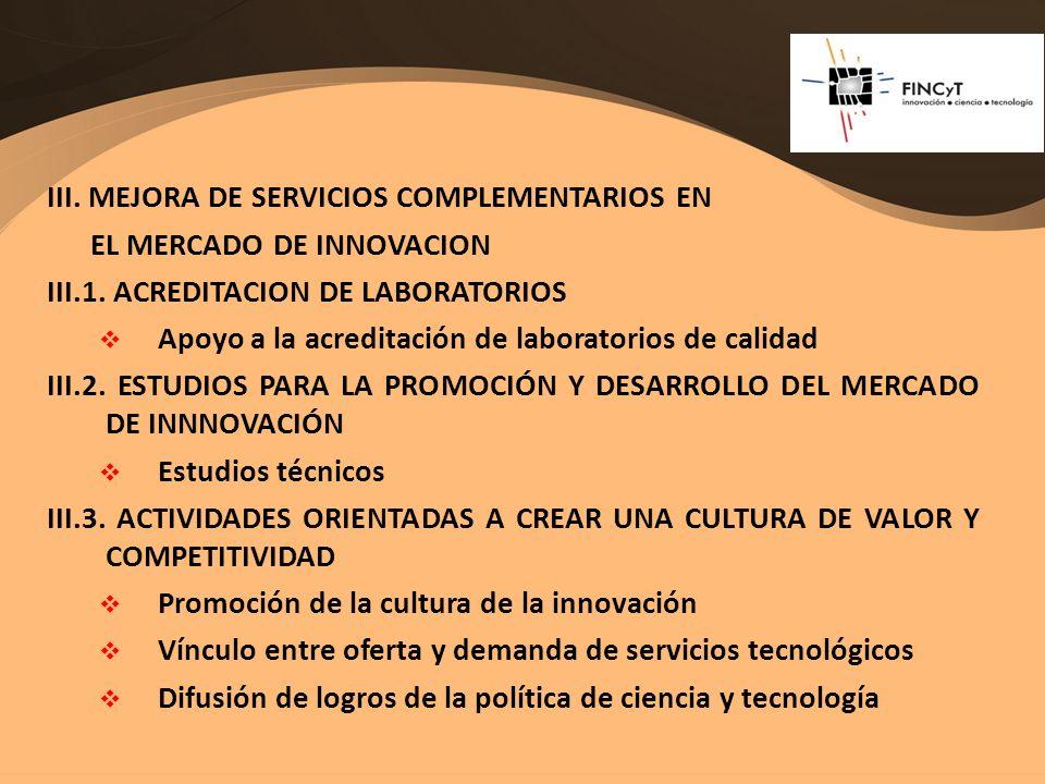 III. MEJORA DE SERVICIOS COMPLEMENTARIOS EN EL MERCADO DE INNOVACION III.1. ACREDITACION DE LABORATORIOS Apoyo a la acreditación de laboratorios de ca