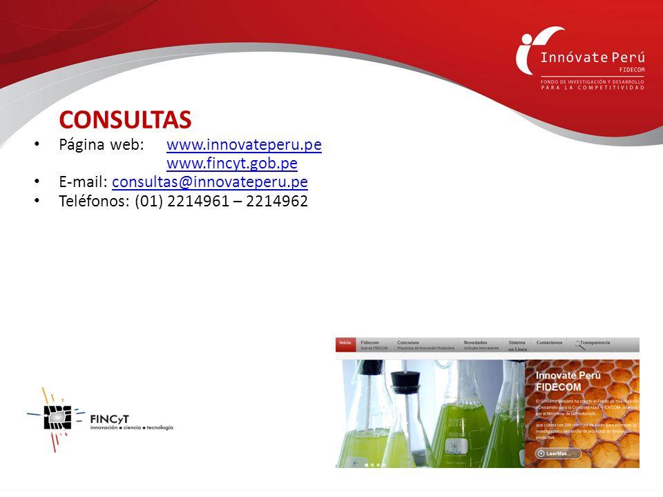 CONSULTAS Página web: www.innovateperu.pewww.innovateperu.pe www.fincyt.gob.pe E-mail: consultas@innovateperu.peconsultas@innovateperu.pe Teléfonos: (