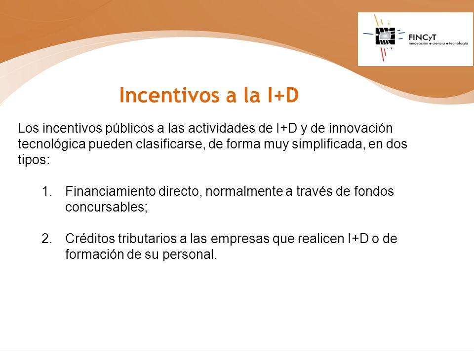 Los incentivos públicos a las actividades de I+D y de innovación tecnológica pueden clasificarse, de forma muy simplificada, en dos tipos: 1. Financia