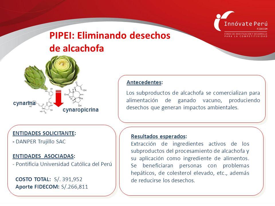 Resultados esperados: Extracción de ingredientes activos de los subproductos del procesamiento de alcachofa y su aplicación como ingrediente de alimen