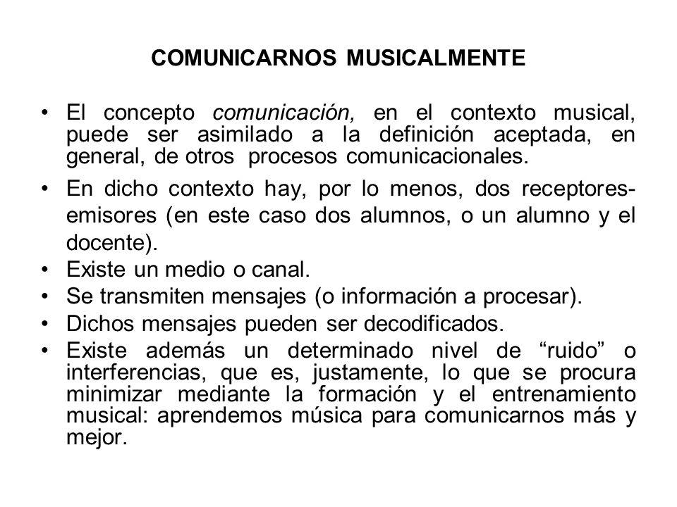COMUNICARNOS MUSICALMENTE El concepto comunicación, en el contexto musical, puede ser asimilado a la definición aceptada, en general, de otros proceso