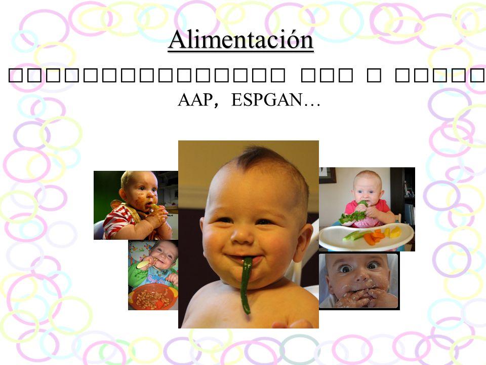 Alimentación Recomendaciones OMS y AEPED, AAP, ESPGAN…