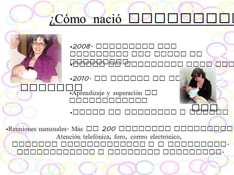 ¿Cómo nació Parlacta? Tatiana 2010. Se amplia el grupo. Ana 2008. Comienzan las reuniones del Grupo de Lactancia. Lugar de encuentro para familias Apr