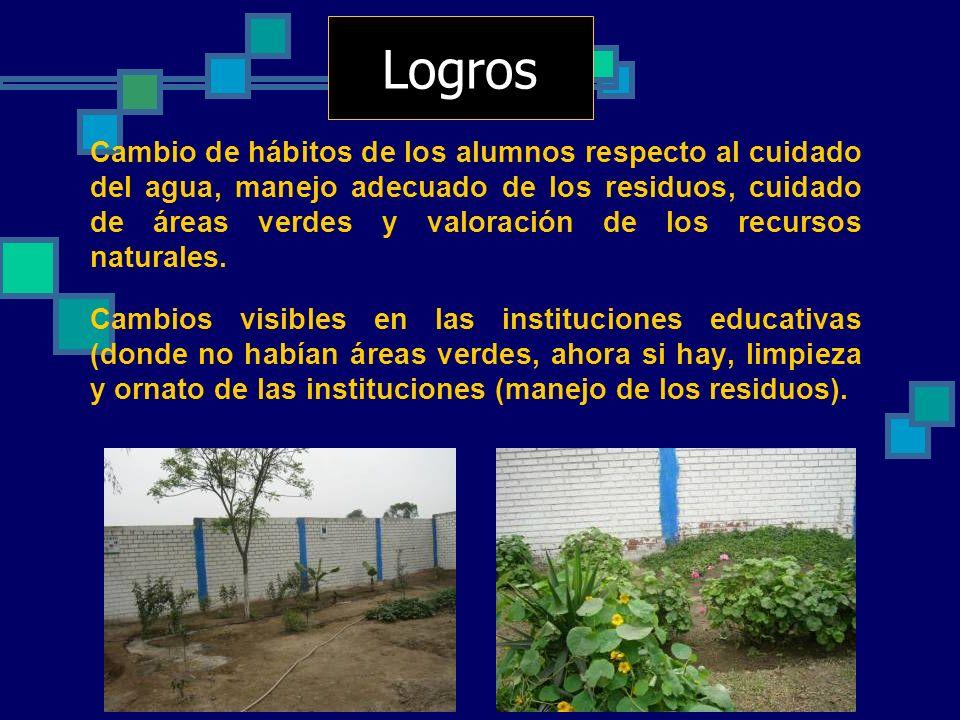 Cambio de hábitos de los alumnos respecto al cuidado del agua, manejo adecuado de los residuos, cuidado de áreas verdes y valoración de los recursos n