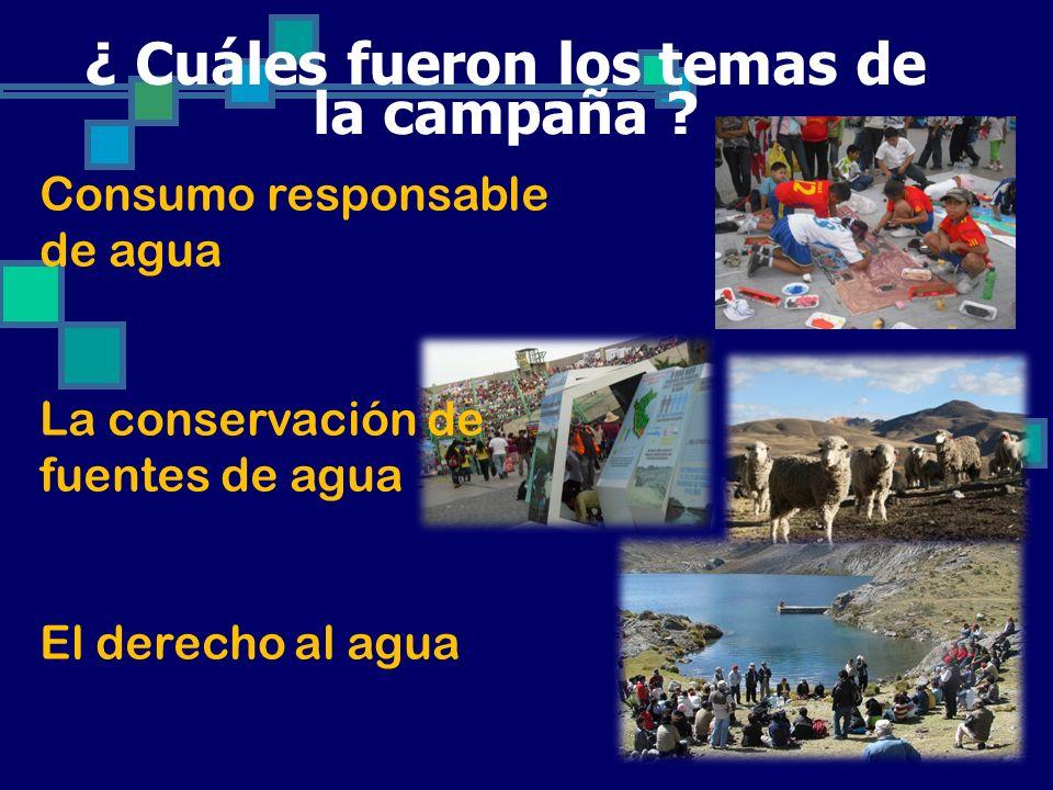 ¿ Cuáles fueron los temas de la campaña ? Consumo responsable de agua La conservación de fuentes de agua El derecho al agua