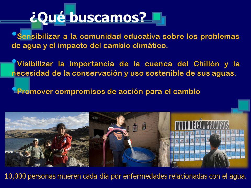 Sensibilizar a la comunidad educativa sobre los problemas de agua y el impacto del cambio climático. Visibilizar la importancia de la cuenca del Chill