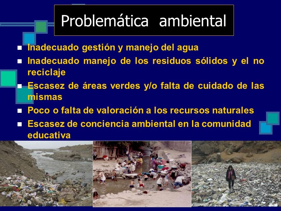 Problemática ambiental Inadecuado gestión y manejo del agua Inadecuado manejo de los residuos sólidos y el no reciclaje Escasez de áreas verdes y/o fa