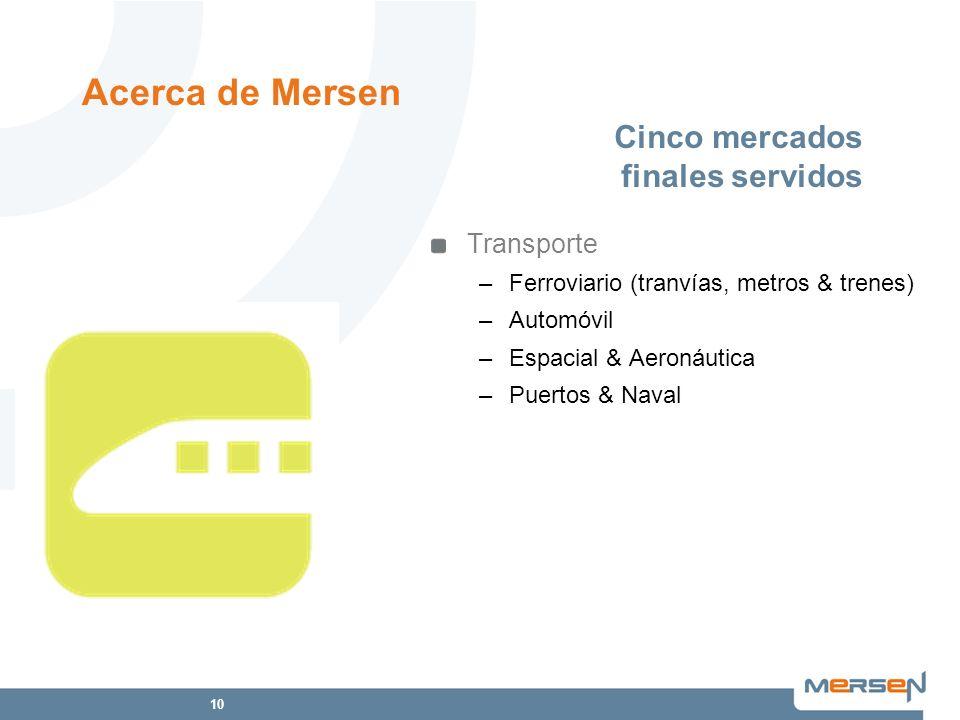 10 Cinco mercados finales servidos Transporte –Ferroviario (tranvías, metros & trenes) –Automóvil –Espacial & Aeronáutica –Puertos & Naval Acerca de M