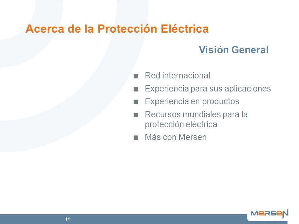 14 Acerca de la Protección Eléctrica Red internacional Experiencia para sus aplicaciones Experiencia en productos Recursos mundiales para la protecció