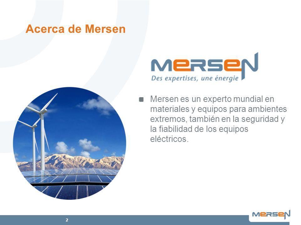 2 Mersen es un experto mundial en materiales y equipos para ambientes extremos, también en la seguridad y la fiabilidad de los equipos eléctricos. Ace